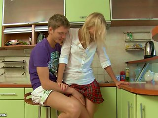 Hot Girl In School Uniform Gets Ass Fucked In A Kitchen